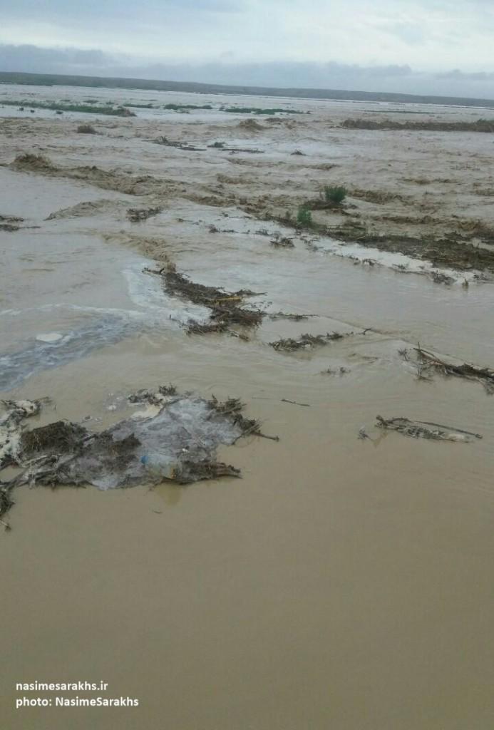 جاری شدن سیل در شهرستان سرخس (4)