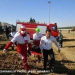 مانور امداد و نجات در راه آهن بینالمللی سرخس برگزار شد+ تصاویر