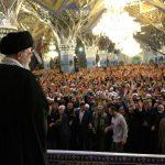 تصاویر ویژه از سخنرانی رهبر انقلاب در حرم رضوی
