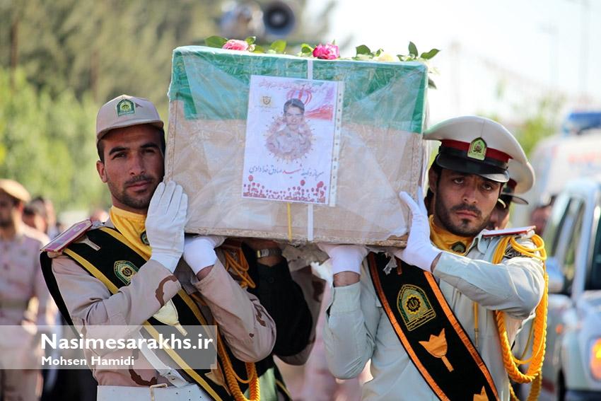 پیکر پاک شهید حادثه تروریستی میرجاوه در سرخس تشییع شد+ تصاویر