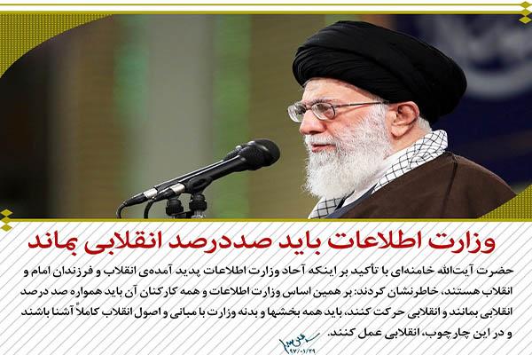 محورهای مهم بیانات رهبر انقلاب در دیدار وزیر و کارکنان وزارت اطلاعات