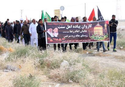 زائران پیاده اهل سنت سرخس «وحدت» را به نمایش میگذارند/ نگاه و امیدمان به امام خامنهای است