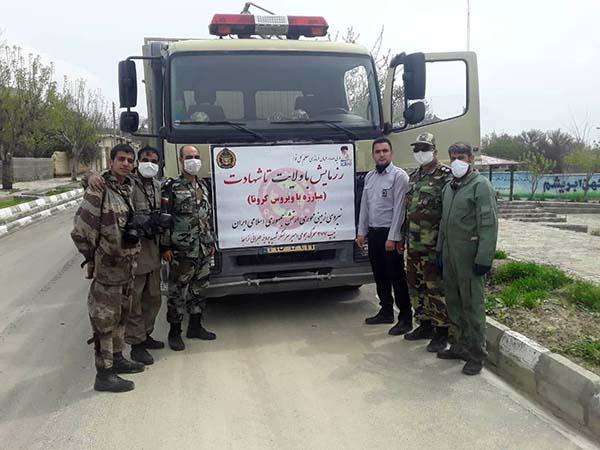 گندزدایی و ضدعفونی معابر شهر مزداوند توسط ارتش